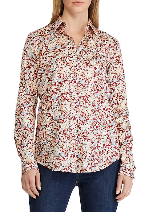 Lauren Ralph Lauren Cotton Sateen Floral Print Shirt