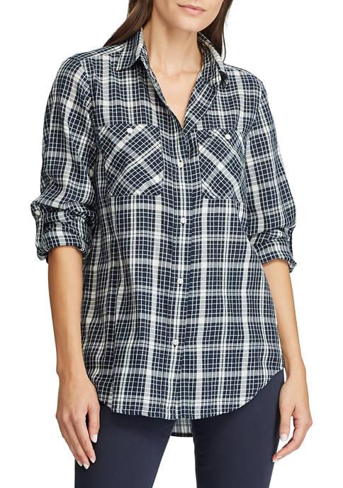 Lauren Ralph Lauren Roll-Tab-Sleeve Plaid Twill Shirt