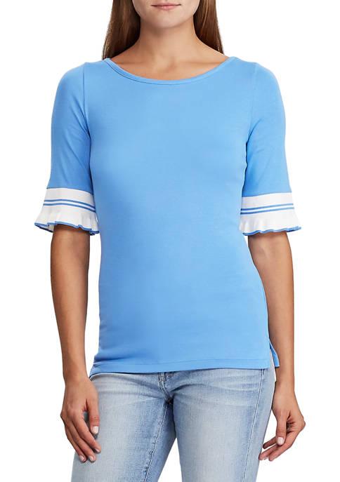 Lauren Ralph Lauren Ruffled-Cuff Stretch Cotton Top