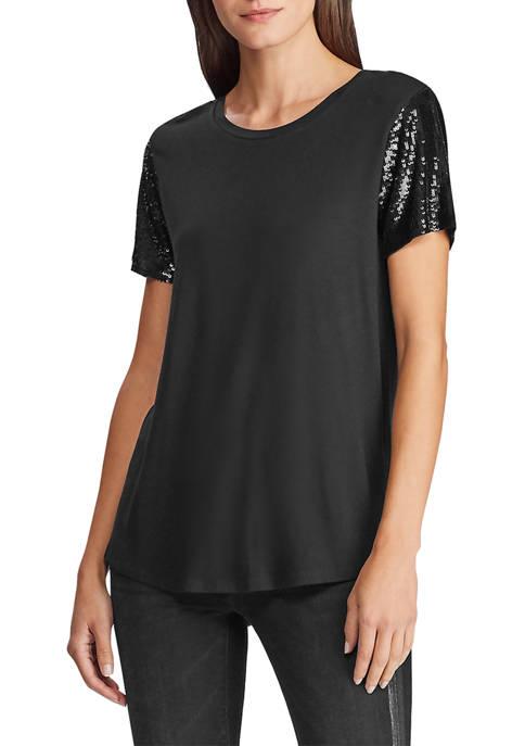 Lauren Ralph Lauren Jersey Sequin-Sleeve Shirt
