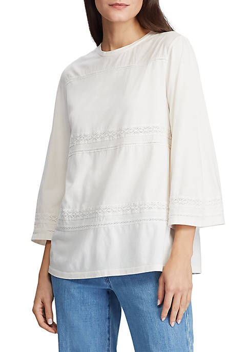 Lauren Ralph Lauren Lace Trim Knit Top