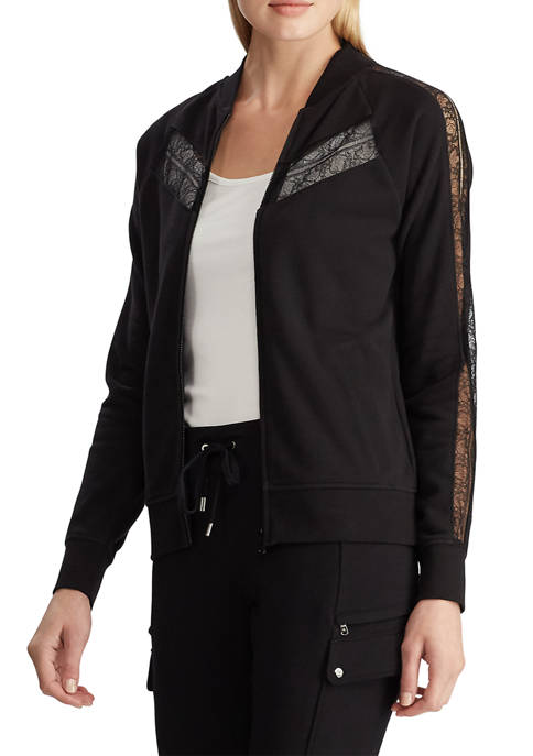 Lauren Ralph Lauren Lace-Trim Fleece Jacket
