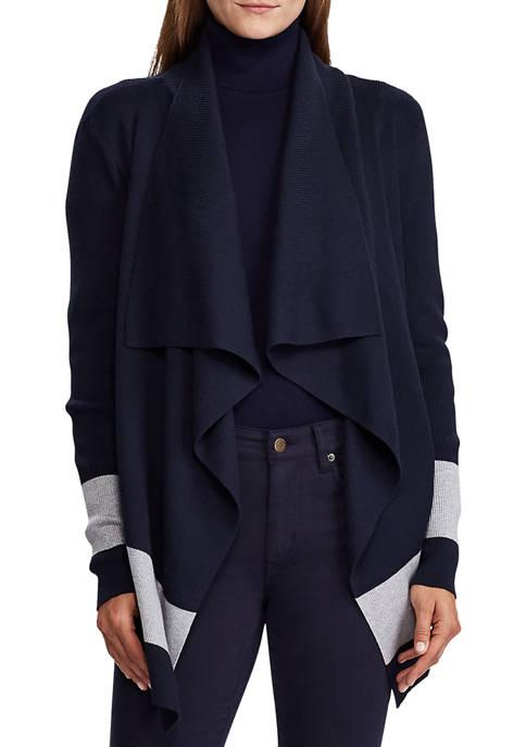 Lauren Ralph Lauren Color Blocked Cotton Cardigan