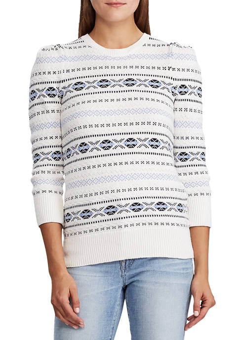 Lauren Ralph Lauren Fair Isle Cotton Puff-Sleeve Sweater