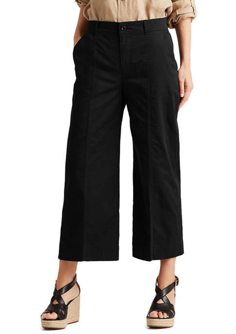 Lauren Ralph Lauren Cotton Twill Wide Leg Pants