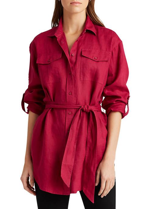 Lauren Ralph Lauren Belted Linen Shirt