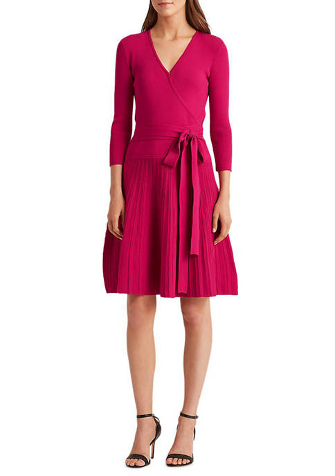 Lauren Ralph Lauren Cotton-Blend Surplice Dress