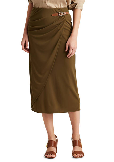 Lauren Ralph Lauren Buckled Jersey Wrap Skirt