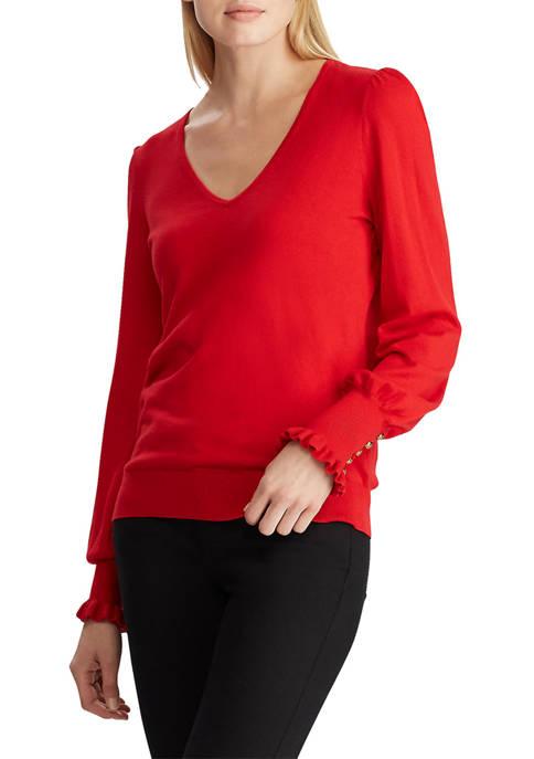 Lauren Ralph Lauren Buttoned Cuff Long Sleeve Sweater