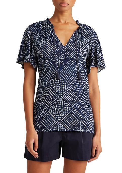 Print Linen-Blend Tie-Neck Top