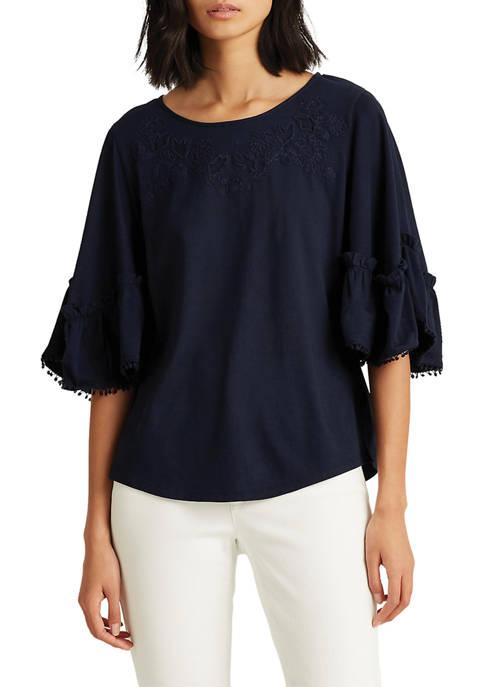 Lauren Ralph Lauren Cotton Elbow-Sleeve Top