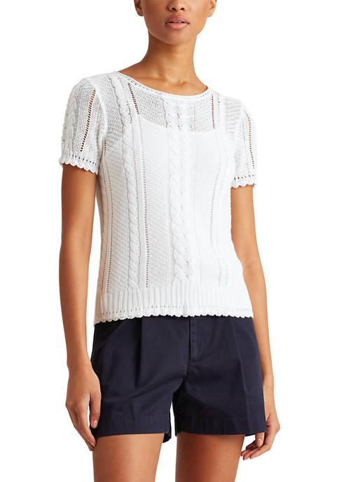 Lauren Ralph Lauren Cable-Knit Linen-Blend Sweater