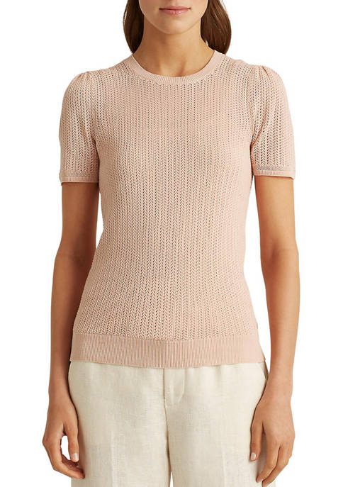 Lauren Ralph Lauren Pointelle Cotton-Blend Sweater