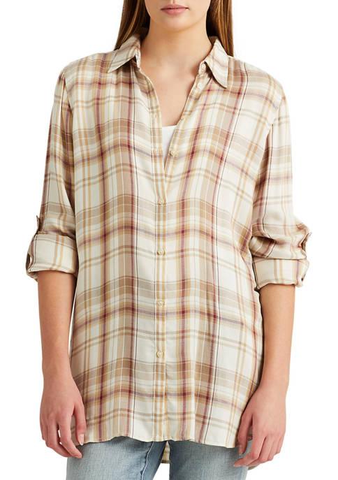 Lauren Ralph Lauren Plaid Roll Tab Sleeve Twill