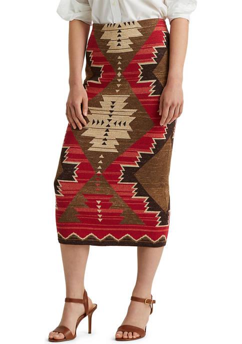 Lauren Ralph Lauren Southwestern-Print Cotton-Linen Skirt