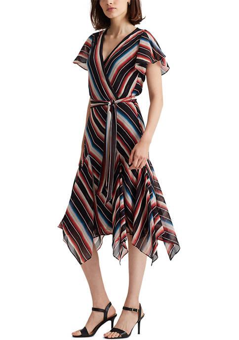 Lauren Ralph Lauren Blanket-Stripe Georgette Dress