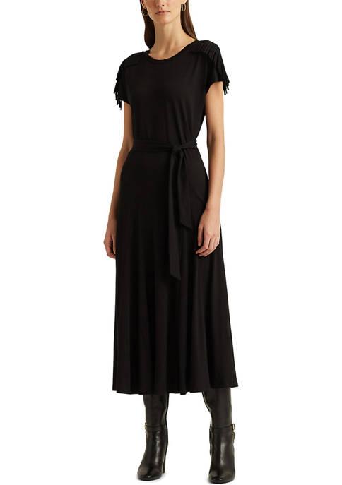 Lauren Ralph Lauren Fringe-Trim Jersey Dress