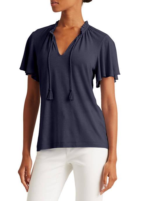 Lauren Ralph Lauren Linen-Blend Tie-Neck Top