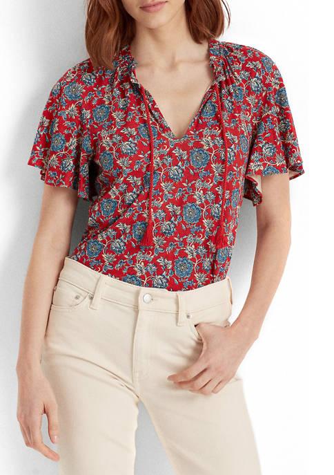 Lauren Ralph Lauren Floral Linen Tie-Neck Top