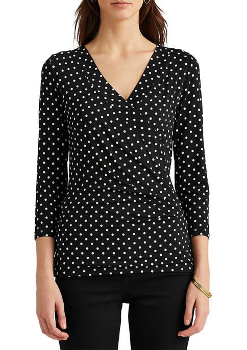 Lauren Ralph Lauren Polka-Dot Wrap-Style Jersey Top