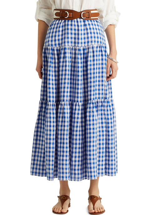 Gingham Linen Maxi Skirt