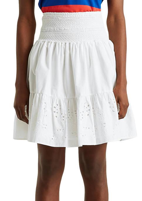 Lauren Ralph Lauren Eyelet Cotton Broadcloth Skirt