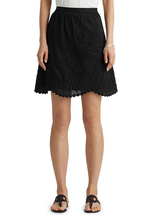 Lauren Ralph Lauren Embroidered Cotton Linen Voile Skirt