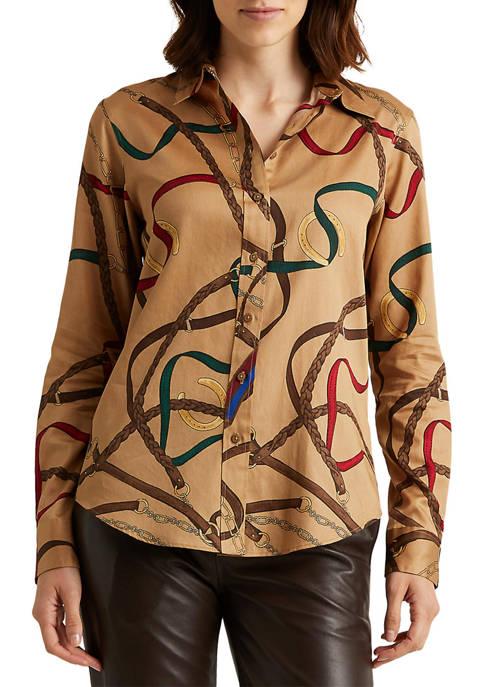 Lauren Ralph Lauren Belting-Print Cotton Sateen Shirt