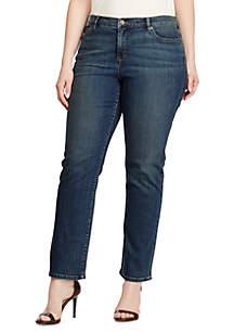 Plus Size Super-Stretch Classic Straight Harbor-Wash Jean