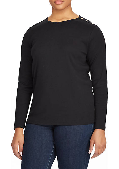 Lauren Ralph Lauren Plus Size Buttoned-Shoulder Top