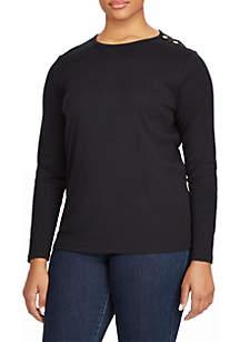 Plus Size Buttoned-Shoulder Top