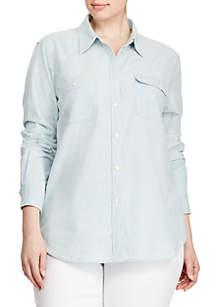 Plus Size 2-Pocket Chambray Shirt