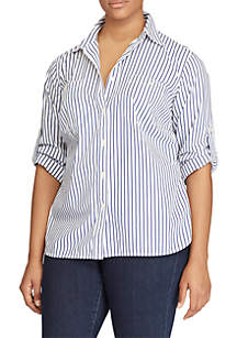 Plus Size Striped Roll-Tab Shirt