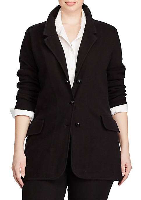 Lauren Ralph Lauren Plus Size Cotton Sweater Blazer