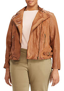 Burnished Leather Jacket - Curvy