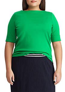 Lauren Ralph Lauren Plus Size Cotton Boat Neck Top