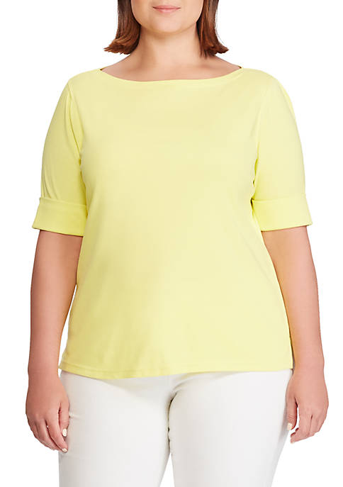 Plus Size Stretch Cotton Boatneck Top