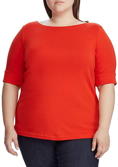 Lauren Ralph Lauren Plus Size Stretch Cotton Boatneck