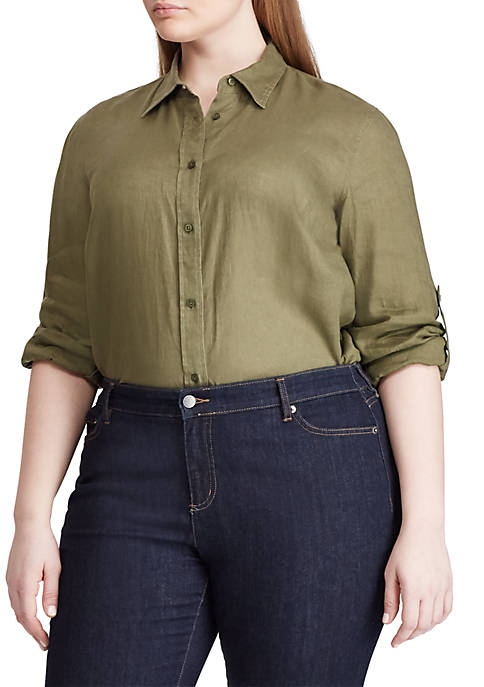 Plus Size Linen Roll Cuff Shirt