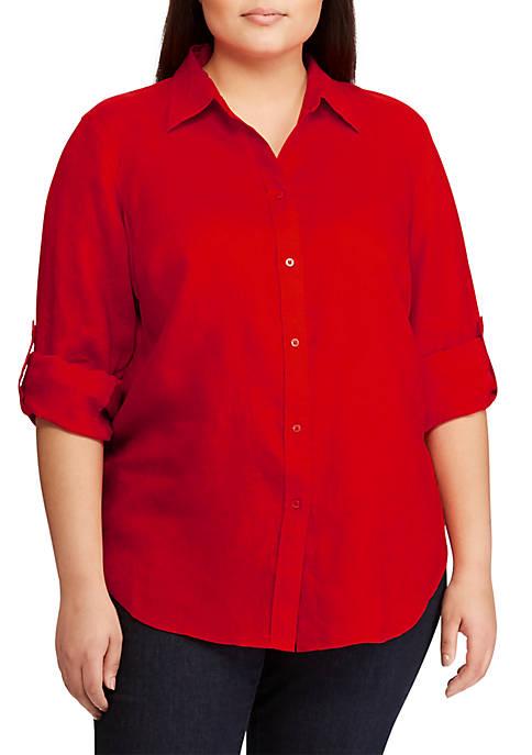 Plus Size Linen Roll-Cuff Shirt