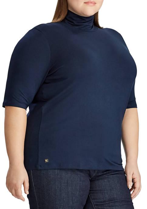 Lauren Ralph Lauren Plus Size Stretch Turtleneck Top