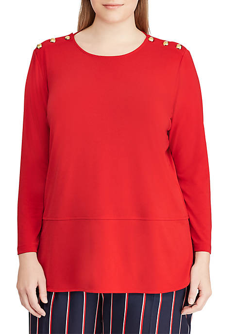Lauren Ralph Lauren Plus Size Button-Trim Matte Jersey