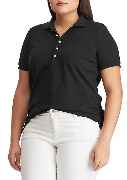 Plus Size Stretch Piqué Polo Shirt