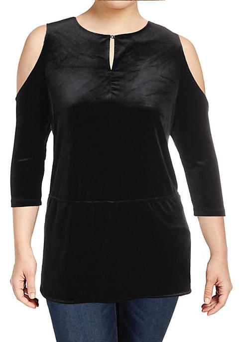 Kiralynn Velvet Cold Shoulder Blouse