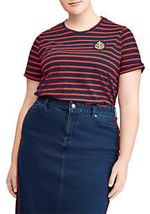 d6bd579975c3f Lauren Ralph Lauren. Lauren Ralph Lauren Plus Size Bullion-Patch Striped T- Shirt