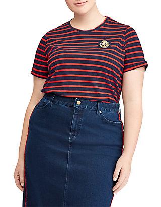c7829ac58 Lauren Ralph Lauren. Lauren Ralph Lauren Plus Size Bullion-Patch Striped T- Shirt