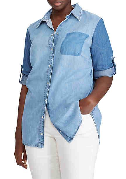 Lauren Ralph Lauren Plus Size Colorblock Denim Shirt ...