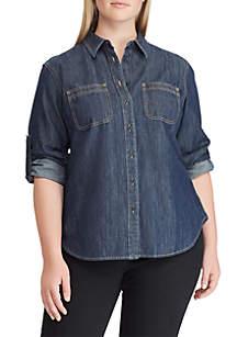 Plus Size Lizabeth Ruff Denim Shirt