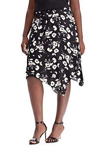 Plus Size Floral Georgette Skirt