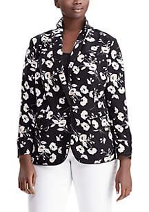 Plus Size Floral Crepe Jacket